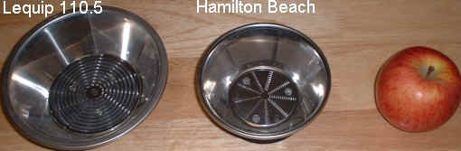 Lequip and Hamilton Beach Cutting disc and strainer basket